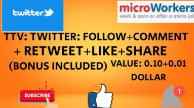 TTV:Twitter: Follow + Comment + Retweet + Like + Share  Bonus Included#MICROWORKERS 2020